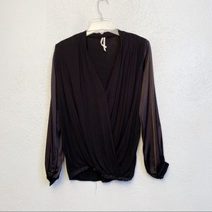 Anthropologie Black Secret Wrap Long Sleeve Top